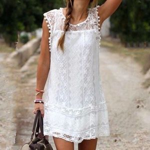 Dresses & Skirts - Delicate White Lace Mini Dress - Cover up size S